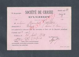 CHASSE CARTE MEMBRE DE 1934 SOCIÉTÉ DE CHASSE DE D UCHIZY DE Mr ALEXANDRE GUILLON : - Cartes