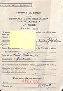 Déclaration D'un Vélocipède à Un Siège 1936, Namur - Titres De Transport
