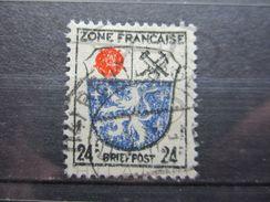 """VEND BEAU TIMBRE D ' ALLEMAGNE - ZONE FRANCAISE N° 9 , IMPRESSION DEFECTUEUSE , OBLITERATION """" REUTLINGEN """" !!! - Zone Française"""