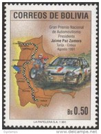 Bolivia 1991 CEFIBOL 1409 **  Carrera Auntomovilística Tarija-Cobija. Integracion Nacional. Automovil. Motocicleta. Mapa - Bolivia