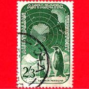 Territorio Antartico Australiano - AAT - Usato - 1959 - Ricerche Nell'Antartico - Emperor Penguins And Map - 2´3 - Territorio Antartico Australiano (AAT)