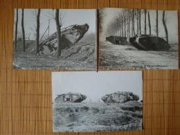 Original Foto 1. WK., Technik, Tankfiedhof Panzerfriedhof Bei Cambrai, 3 Fotos !! - 1914-18