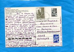 "MARCOPHILIE-U R SS-cp Entier Postal 4k ""Station De Skis+complt Aff 2 Stamps 5122-zibeline-+cosmonaute-cad 1984->r Françe - Machine Stamps (ATM)"
