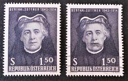 BERTHA VON SUTTNER FEMME DE LETTRES 1965 - NEUF ** + OBLITERE - YT 1035 - MI 1199 - 1945-.... 2ème République