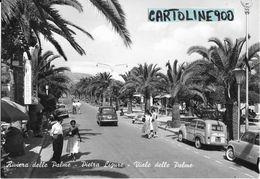Liguria-savona-pietra Ligure Viale Delle Palme Veduta Persone Albergo Fiat 600 1100 Giardinetta Animatissima Anni 50 - Italy