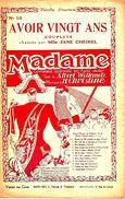 """Avoir Vingt Ans  N° 10, De L'opérette """"Madame"""". - Spartiti"""