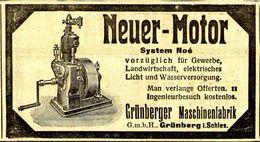 Original-Werbung/ Anzeige 1912 - NEUER MOTOR /SYSTEM NOÉ /GRÜNBERGER MASCHINENFABRIK- GRÜNBERG SCHLESIEN- Ca.100x 50  Mm - Werbung