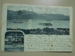 ITALIE PIEMONTE ILES BORROMEES VUES DE L'HOTEL MILAN STRESA VOYAGEE LE 04/07/1898 - Italië