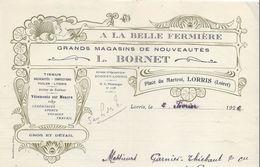 A La Belle Fermière /Grands Magasins De Nouveautés /L Bornet / Place Du Martroi/ LORRIS/ Loiret/1926             FACT223 - Textile & Vestimentaire