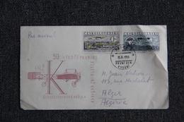 Enveloppe Timbrée Envoyée De PRAGUE à ALGER Par Avion - Tchécoslovaquie