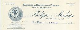 Fabrique De Dentelles Aux Fuseaux Main & Mécanique/Philippe & Mouleyre/Bd Mal Fayolle/LE PUY/Haute Loire/1926   FACT225 - Textile & Vestimentaire