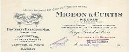 Filatures  &Tissages Du Mail / Corderies Mécaniques/Migeon & Curtis Réunis/Dunkerque/La Pallice/Bordeaux/1921    FACT228 - Textile & Clothing