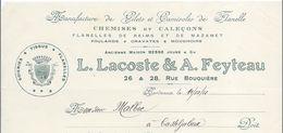 Manufacture De Gilets Et Camisoles De Flanelle/Lacoste & Feyteau/ Rue Bouquiére / BORDEAUX/ 1921    FACT232 - Textile & Vestimentaire