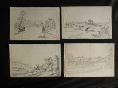 Ancien 4 Paysages De Village à L'encre Noire Et Crayon A Batisse 1935 1936 - Dessins