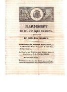 Choléra-Morbus.Mandement De Mgr.L'évêque D'Amiens.4 Pages.5 Avril 1832. - Documents Historiques