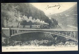 Cpa Algérie Tlemcen Train Sortant Du Tunnel , Traversant Le Pont Des Cascades     Sep17-2 - Tlemcen