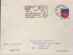 """Lettre Sport Boules 31 Toulouse RP 5-8 1968 =o """" 30.31 Août 1er Sept. 42e Championnat De France De Boules - Bowls"""
