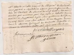 1706 MANDEMENT AUMONE / MAGDELEINE AZEMA TOURTROL ARIEGE / HOPITAL CAUDEVAL / AUTOGRAPHE PIERRE DE LA BROUE EVEQUE MIREP - Documents Historiques