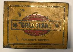 EMPTY  TOBACCO  BOX    TIN     GOLD FLAKE   W.D. & H.O. WILLS  HONEY DEW - Schnupftabakdosen (leer)