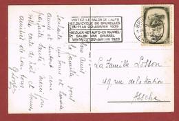 Tweetalige Slogan  Auto- En Rijwielsalon Brussel 11 Tot 22/1/1939 Op Wenskaart - Motorräder