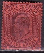 British INDIA 1902 King Edward VII 12 A Purple On Red SG 135 Y&T 66 MH - 1902-11 King Edward VII