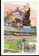 Cartolina Con Annullo Abruzzofil Raffigurante Calciatore Rep. San Marino Con Serie Campionati Del Mondo Italia Brasile - Calcio