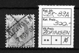 STEHENDE HELVETIA Gezähnt → SBK-89A  ►Fahrpost ZOFINGEN◄ - 1882-1906 Armoiries, Helvetia Debout & UPU