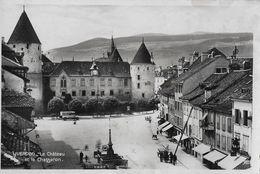 YVERDON → Le Château, Dorfplatz Mit Oldtimer, Fotokarte Ca.1940 - VD Waadt