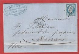LAC - Seine - Paris -  Etoile 24 Sur N°22 - Rue De Cléry - 1865 - Marcophilie (Lettres)