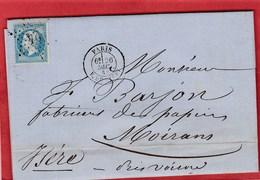 LAC - Seine - Paris -  Etoile 24 Sur N°22 - Rue De Cléry - 1868 - Marcophilie (Lettres)