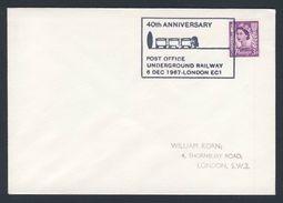Great Britain 1967 Cover / Brief - 40th Ann. Post Office Underground Railway / Postamt - U-Bahn - Treinen