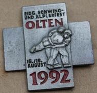LUTTE SUISSE - EIDG.SCHWING UNG ÄLPERFEST OLTEN 1992 - 15/16 AUGUST -  - LUTTEURS -       (JAUNE) - Wrestling