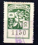Viñeta  Nº 4   Serie B Consell Municipal De Roses De Llobregat. - Verschlussmarken Bürgerkrieg