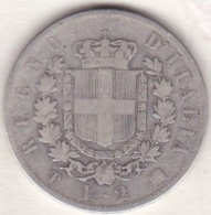 2 Lire Stemma  1863 T Torino, Vittorio Emanuele II , En Argent - 1861-1946 : Regno