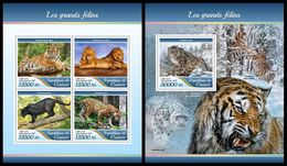 GUINEA 2017 - Big Cats. M/S + S/S. Official Issue - Guinea (1958-...)
