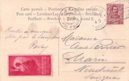 Vignette De Inaugurazione Del Sempione Espositione MILLANO 1906 Sur Carte Postale Oblitérée, à Destination De MARIN - Usados