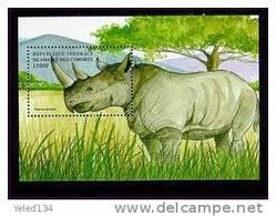 COMORES   864  MINT NEVER HINGED SOUVENIR SHEET OF ANIMALS  ; RINOSEROS  ( - Postzegels