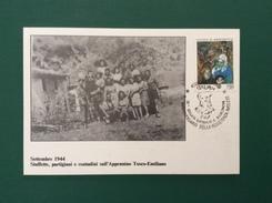 POLITICA  RESISTENZA 1944 STAFFETTE CONTADINI E PARTIGIANI SULL'APPENNINO TOSCO EMILIANO CARTOLINA  ED ANNULLO  SPECIALE - Eventi