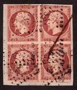 Bloc De 4 Napoléon III 1 Franc Empire N° 18 Carmin Sur Fragment - Oblitération Bureau De Paris DS2 - Cote 45 000 - RARE - 1853-1860 Napoleon III