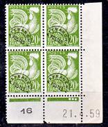 France Préoblitéré 113 Coq Bloc De 4 Coin Daté 21 4 59 Neuf ** TB MNH Sin Charnela Cote 15 - 1950-1959