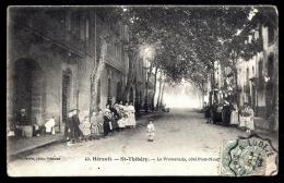 CPA ANCIENNE FRANCE-  ST-THIBÉRY(34)- LA PROMENADE COTÉ PONT-NEUF EN ÉTÉ- TRES BELLE ANIMATION GROS PLAN - Other Municipalities