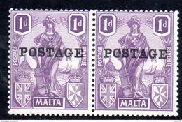 XP2596 - MALTA 1926 , Unificato N. 105  Coppia ***  MNH . - Malta