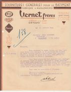 Facture 1941 / VERNET Frères / Fournitures Bâtiment / 25 Ornans Doubs - France
