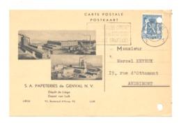 Carte Pré Imprimée - S.A. Papeteries De GENVAL Avec Dessins - Dépôt De Liège - 1945(k) - Autres