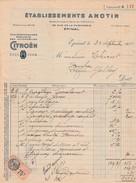 Facture 1934 / Ets ANOTIN / Exclusif Citroën / Rue De La Faïencerie / 88 Epinal / Vosges - France