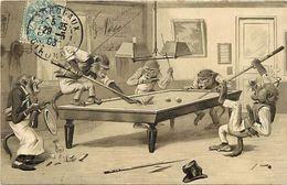 Ref 540-sports -billards -billard - Illustrateurs - Illustrateur - Singes Humanisés - Carte Bon Etat  - - Cartes Postales