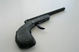 Vintage TOY GUN : J.A. PARIS - L=21cm - 1930s - Keywords : Cap Gun - Cork Gun - Rifle - Revolver - Pistol - Tin - Armes Neutralisées
