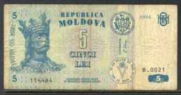 329-Moldavie Billet De 5 Lei 1994 B0021 - Moldavie