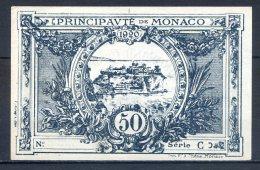 501-Monaco Billet De 50c 1920 Série C Sans N° Neuf - Monaco