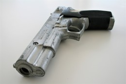 Vintage TOY GUN : GONHER - L=19cm - 19??s - Made In Spain - Keywords : Cap Gun - Cork Gun - Rifle - Revolver - Pistol - Armes Neutralisées